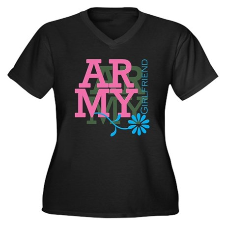 Army Girlfriend - Pink Women's Plus Size V-Neck Da