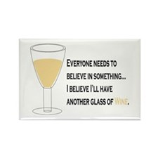 Believe White Wine Rectangle Magnet
