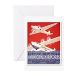 """New York Airports"" Greeting Cards (Pk o"