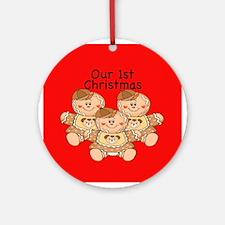 Triplets Gingerbread Boys 1st Christmas Ornament