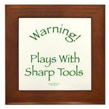 Warning - Sharp Tools Framed Tile