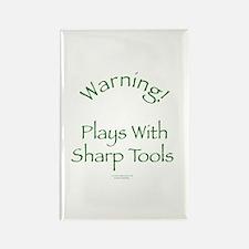 Warning - Sharp Tools Rectangle Magnet