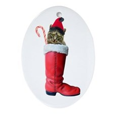 Cat in Boot Oval Ornament
