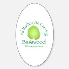 Rather Be Carving Basswood 2 Oval Decal