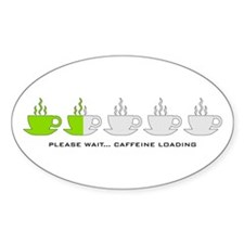 Please Wait Caffeine Loading Oval Decal
