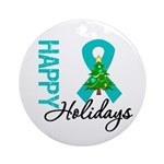 Happy Holidays Teal Ribbon Ornament (Round)