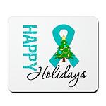 Happy Holidays Teal Ribbon Mousepad