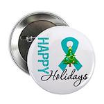 Happy Holidays Teal Ribbon 2.25