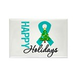 Happy Holidays Teal Ribbon Rectangle Magnet (10 pa
