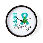 Happy Holidays Teal Ribbon Wall Clock