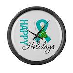 Happy Holidays Teal Ribbon Large Wall Clock