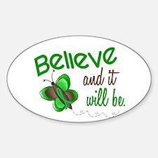 Believe 1 Butterfly 2 GREEN Oval Decal