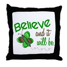 Believe 1 Butterfly 2 GREEN Throw Pillow
