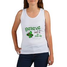 Believe 1 Butterfly 2 GREEN Women's Tank Top