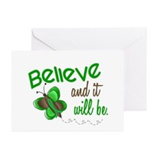 Believe 1 Butterfly 2 GREEN Greeting Cards (Pk of