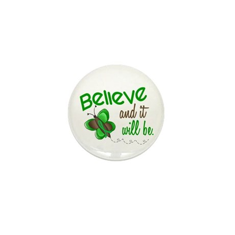 Believe 1 Butterfly 2 GREEN Mini Button (10 pack)