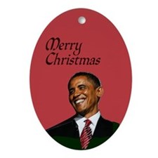 Merry Christmas with Pres. Obama Oval Ornament