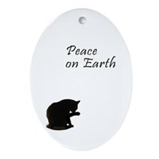 Christmas and Cats Oval Ornament