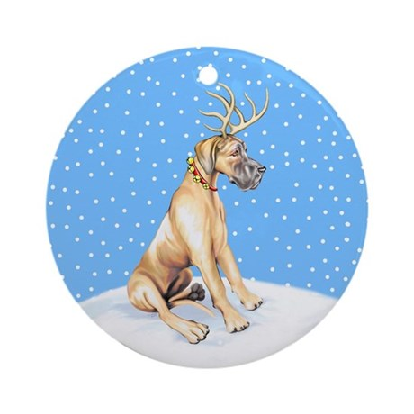 Great Dane Deer Fawn UC Ornament (Round)