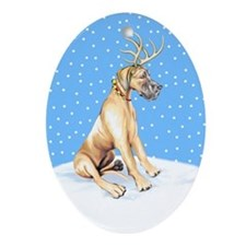 Great Dane Deer Fawn UC Oval Ornament