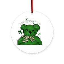 Merry Christmas Green Irish Bear Ornament