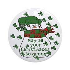 Irish GREEN Snowman Christmas Ornament