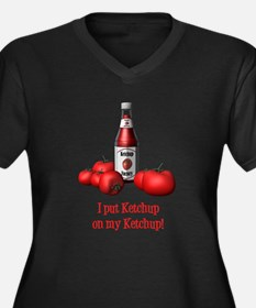 Ketchup on my Ketchup Women's Plus Size V-Neck Dar