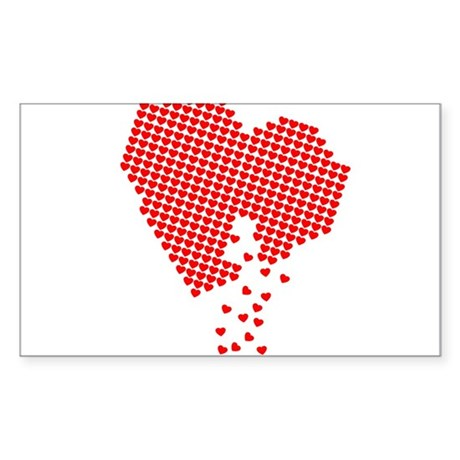 Digital Hearts Rectangle Sticker