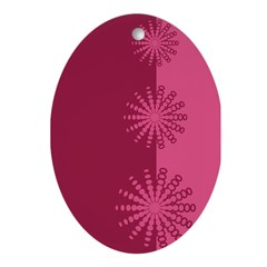 Magenta Snowflakes Oval Ornament