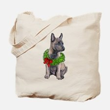 Belgian Mal puppy with Christmas wreath Tote Bag