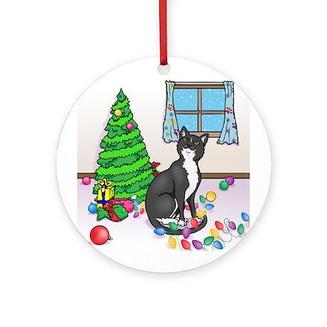 Christmas Tuxedo Cat Ornament (Round)