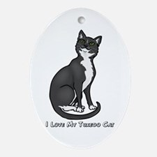 Love My Tuxedo Cat Oval Ornament