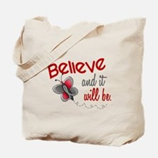 Believe 1 Butterfly 2 GREY Tote Bag