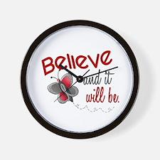 Believe 1 Butterfly 2 GREY Wall Clock
