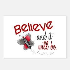 Believe 1 Butterfly 2 GREY Postcards (Package of 8
