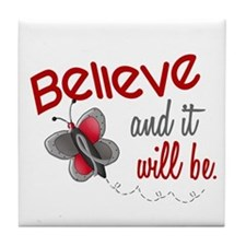 Believe 1 Butterfly 2 GREY Tile Coaster
