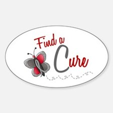 Find A Cure 1 Butterfly 2 GREY Oval Decal