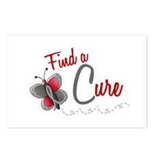 Find A Cure 1 Butterfly 2 GREY Postcards (Package