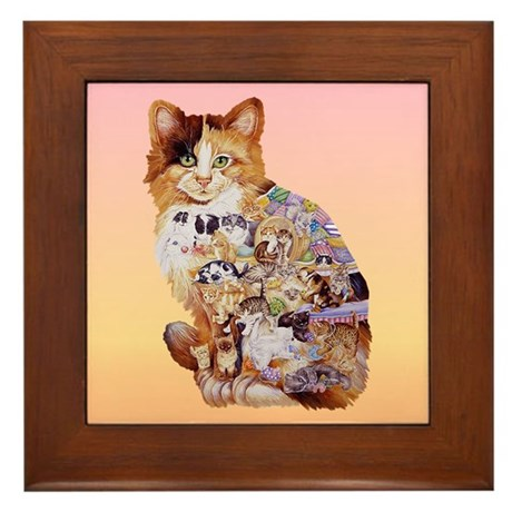 patchwork kitty Framed Tile