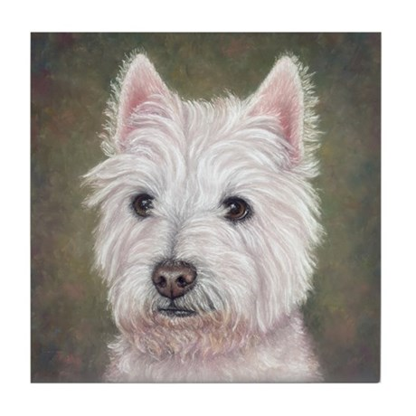 Westie (head study) Tile Coaster
