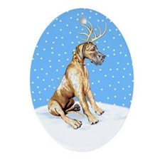 Great Dane Deer Brindle UC Oval Ornament