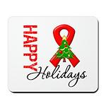 Happy Holidays Red Ribbon Mousepad