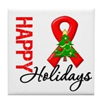 Happy Holidays Red Ribbon Tile Coaster