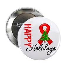 """Happy Holidays Red Ribbon 2.25"""" Button"""