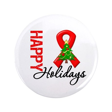 """Happy Holidays Red Ribbon 3.5"""" Button (100 pack)"""