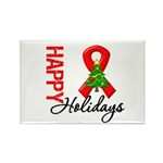 Happy Holidays Red Ribbon Rectangle Magnet (10 pac