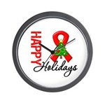 Happy Holidays Red Ribbon Wall Clock