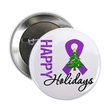 "Purple Ribbon Christmas 2.25"" Button"