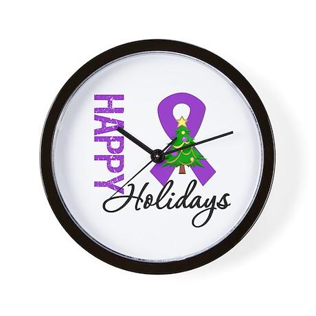 Purple Ribbon Christmas Wall Clock
