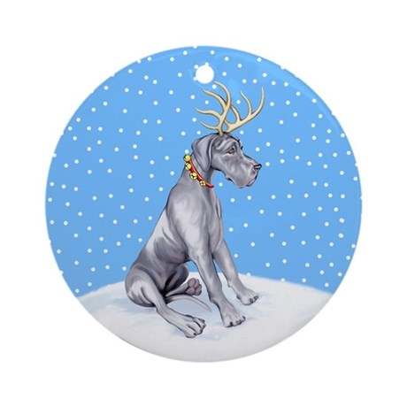 Great Dane Deer Blue UC Ornament (Round)